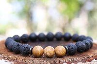 AAA Men's 8mm Lava Rock Stone Picture Jasper Beaded Charm Yoga Bracelet Unisex