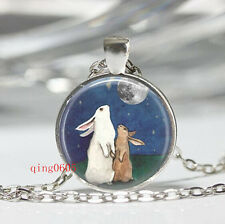 Vintage Rabbit   Cabochon  Tibetan silver Glass Chain Pendant Necklace gift