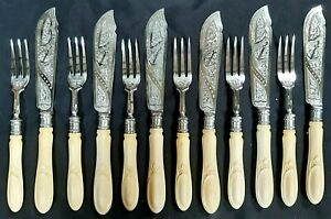 Super Quality Victorian Set of 6 Sterling Silver Fish Knives & Forks London 1869