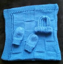 hand-knitted beautiful baby blanket and hat+mittens( bluebell)