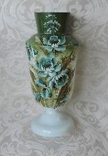 Antico vaso opalina dipinto a fiori e foglie verdi Victorian opaline glass vase