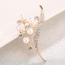 Elegant Rhinestone Brooch Pins Simulated Pearl Brooches Flower Brooch Pins Gift