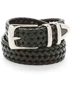 Perry Ellis Portfolio Men's Braided Bonded Leather Belt, Black, Size 36