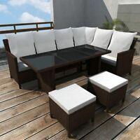 vidaXL 14 Piece Outdoor Lounge Set Poly Rattan Wicker Brown Garden Dining Sofa