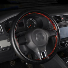 "38cm/15"" DIY Car Truck Leather Steering Wheel Cover + Needles + Thread Black/Red"