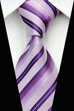 Mauve Pink, Purple, Plum Striped Silk Classic Woven Horse Show Tie *New*