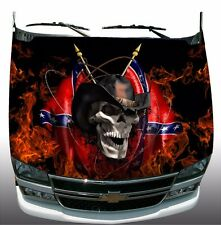 Rebel cowboy skull flame fire Hood Wrap Wraps Sticker Vinyl Decal Graphic