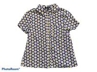 TOPSHOP Retro Floral Print Short Sleeve Shirt Blouse Navy White Yellow UK 8
