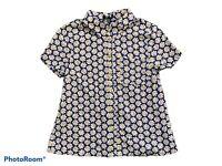 TOPSHOP Retro Floral Print Short Sleeve Shirt Blouse Navy White Yellow UK 8