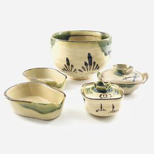 Studio Art Pottery Asstd Lidded Tea Canister Matcha Bowl Stirrer Rests 5 Pieces