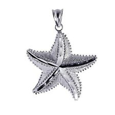 925 Sterling Silver Bead Dotted Diamond Cut Texture Starfish Sea Life Pendant