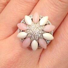 Flor Pavé De Diamante Anillo con Cuarzo Rosa & Esmalte 18ct Oro Blanco - hm518