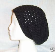 Black Hand Crocheted Baggy Beanie beret tam slouchy HAT