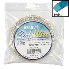18GA Beadsmith Twisted Square Silver Color NonTarnish Wire 8'