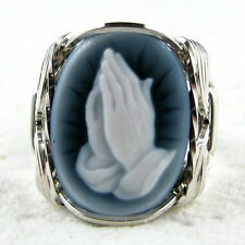 Prayer Black Agate Oval Stone Cameo Ring .925 Sterling Silver Jewelry Any Size