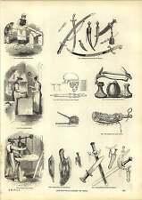 Old Engravings Forging Razorblades New Zealand Bone Saw Cutting Steel