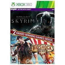 Xbox 360 2 Game Skyrim The Elders Scrolls V and Bioshock Infinite
