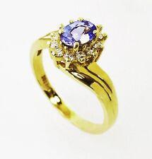 14KT YELLOW GOLD AMAZING! LADIES TANZANITE AND DIAMONDS RING (10761R)