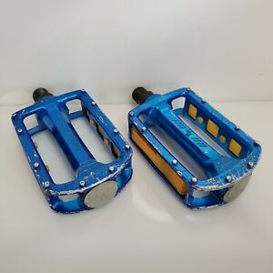 "Vintage SR SP-468 BMX Pedals Blue Reflectors HTF 9/16"" Japan"