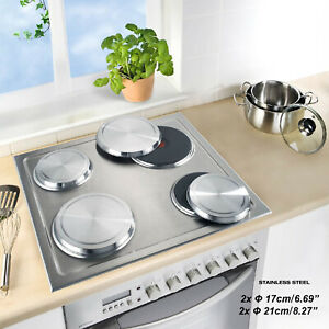 Stainless Steel Round Electric Kitchen Stove Range Top Burner Covers 4 Pcs/Set