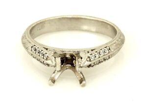 New custom platinum engagement ring diamond semi mount knife edge sz 5.25 5.48g