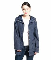 Women's Lightweight Water-Resistant Hooded Trench Coat Rain Jacket Windbreaker