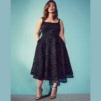 City Chic Jackie O Dress Size 24 XXL Black Lace Midi Fit & Flare Sleeveless NWT