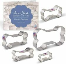 [5 Pcs] Cookie Cutters Dog Bone Cookie Cutter Biscuit Set with Recipe Booklet