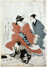 Writing Lesson by Kitagawa Utamaro ORIGINAL Woodblock Print