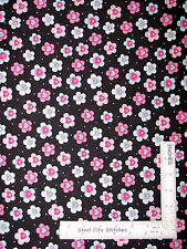 """Floral Cotton Fabric Flowers Daisies Aqua Pink Silver Accents  ~ 32"""" Length"""