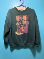 Vintage 90s Basic Editions Sweatshirt Bear Granny Knitting Sz L/XL Mock Neck