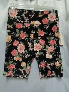 New No Comment NY LA Black with Pink Floral Wide Waistband Bike Shorts Women's L