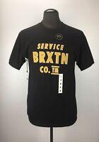 Brixton Men's Graphic T-Shirt Size M Medium Eaton Black Skate Crewneck Tee #Hx4