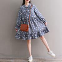 Kawaii Corduroy Women's Long Sleeve Bowknot Vintage Loose Dress Mori Girl Sweet