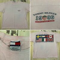 TOMMY HILFIGER - INTERNATIONAL GAMES Vtg 90s Distressed T-shirt, Mens L/XL