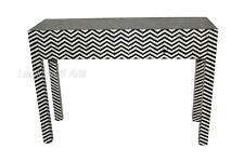 Bone Inlay Zig Zag Design 3 Drawers Console Table Black & White