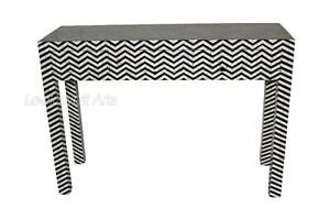 Bone Inlay Zig Zag Design 3 Drawers Console Table Black & White