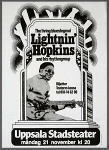 LIGHTNIN' HOPKINS - mega rare vintage original Sweden 1977 blues concert poster