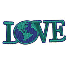 "Love Save World Earth Embroidered DIY Patch Iron Sew On Appliques 3.9""X1.5"""