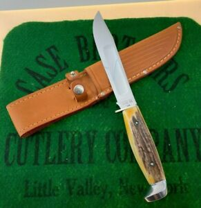 case xx 5325-6 stag fixed blade knife 1965 unused RARE blood groove no pattern #