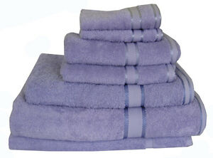 Brand New Quality 7 Pieces 100% Cotton Bath Towel Set - Lilac