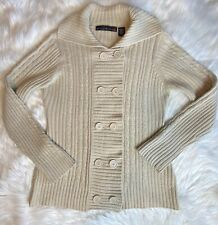 Allison Brittney Women's Size Large Cream Knit Double Breasted Cardigan Sweater