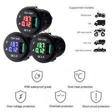 3 In 1 Voltmeter/  Ammeter  Quick Charge  USB Por  3.0 Fast Car Charger Blue LED