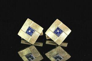 $5,000 14K Yellow Gold Princess Cut Blue Sapphire Round Diamond Square Cufflinks