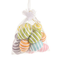 Hanging Easter Eggs 6cm Striped Green, Orange, Purple, Blue, Pink and Yellow x 1