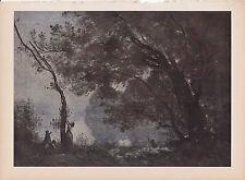 """1939 Vintage """"SOUVENIR DE MORTEFONTAINE"""" by COROT Color Art Plate Lithograph"""