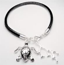 Beach Fashion Rhodium Nautical Black Leather Turtle & Coral Sea Life Bracelet