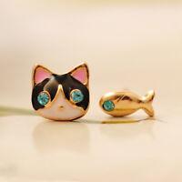 Women Girls Asymmetric Cat Fish Animal Alloy Crystal Ear Stud Earrings Jewelry