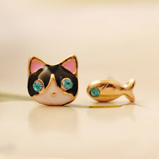 CAT & FISH EARRINGS Post Stud Pair Enamel Kitty Jewelry Tiny Sparkle Rhinestone