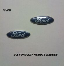 2 X FORD KEY REMOTE BADGES BLUE FIESTA FOCUS KA MONDEO TRANSIT CONNECT 18mm